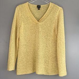Eileen Fisher Italian Yarn Yellow Size S Long Slv